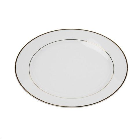 Where to find Dish, Gold Rim 10.5  Dinner Plate  20 in Plattsburgh