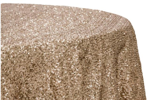 Where to find LINEN, 120  ROUND, GLITZ SEQUIN CHAMPAGN in Plattsburgh