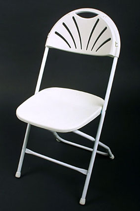 Where to find CHAIR, FOLDING WHITE FANBACK in Plattsburgh